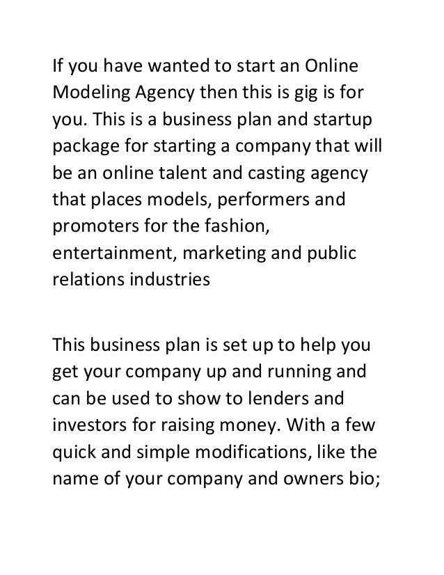 Starting a Talent Agency – Sample Business Plan Template