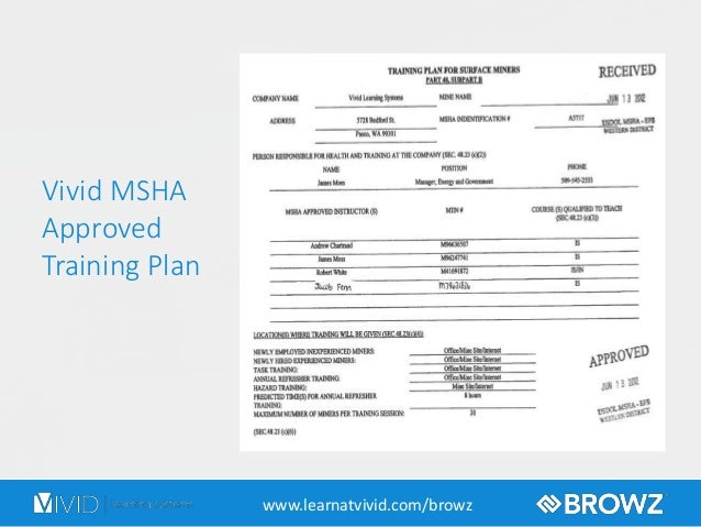 online msha training course introduction with browz and vivid learning