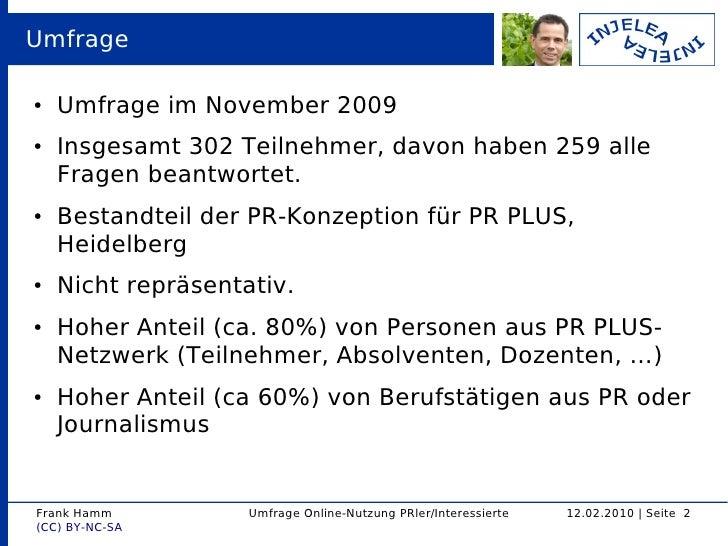 Umfrageergebnisse Online-Nutzung bei PR-Interessierten und PR-Tätigen Slide 2