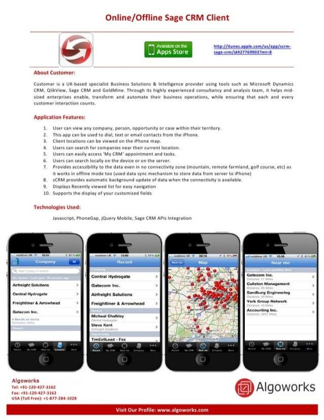 Online/ Offline Sage CRM Client  ' —'l'i. ':ii:1'iE-Cnttie htt :  ltunes. a | e.¢om us a sum- [ ' Apps Store sa; Hrm(i¢4z7...