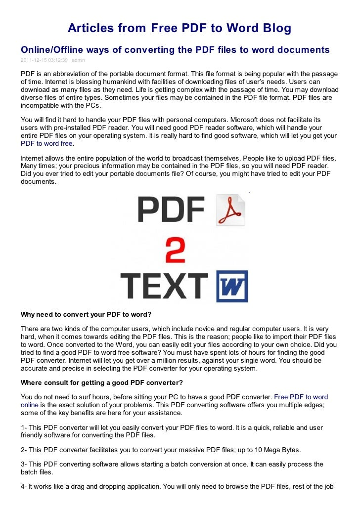 Online offline ways of converting the pdf files to word