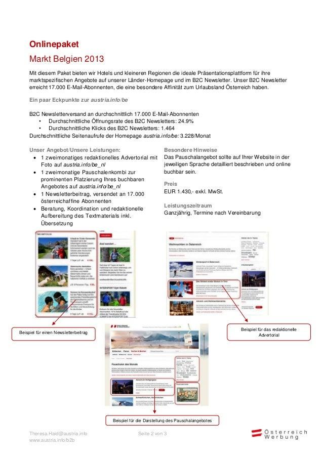 Onlinepaket     Markt Belgien 2013     Mit diesem Paket bieten wir Hotels und kleineren Regionen die ideale Präsentationsp...