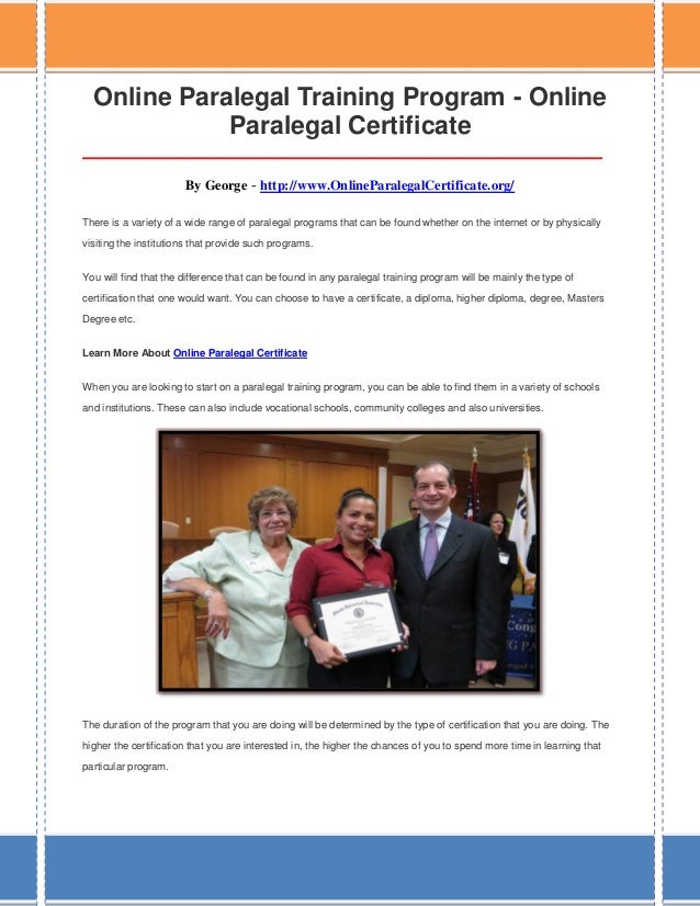 online paralegal certificate