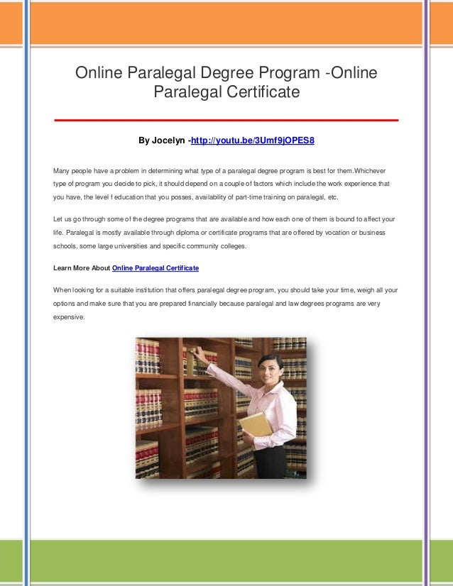 Online paralegal degree program