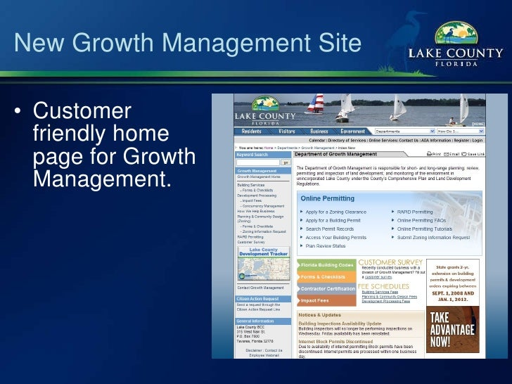 New Growth Management Site <ul><li>Customer friendly home page for Growth Management. </li></ul>