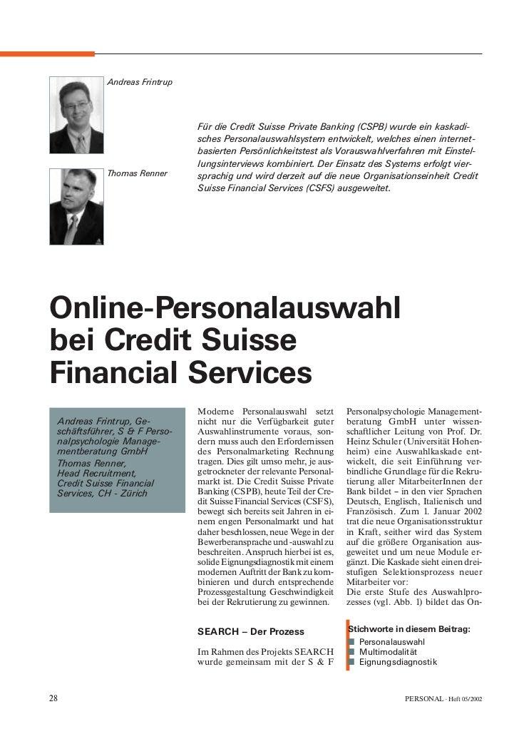 Andreas Frintrup                               Für die Credit Suisse Private Banking (CSPB) wurde ein kaskadi-            ...