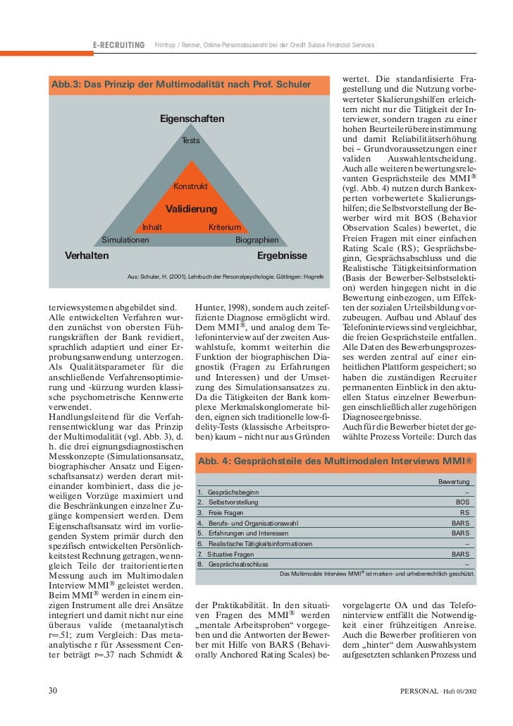 E-RECRUITING        Frintrup / Renner, Online-Personalauswahl bei der Credit Suisse Financial Services                    ...