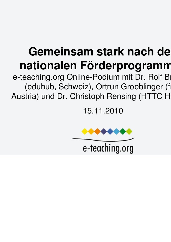Gemeinsam stark nach den  nationalen Förderprogrammene-teaching.org Online-Podium mit Dr. Rolf Brugger    (eduhub, Schweiz...
