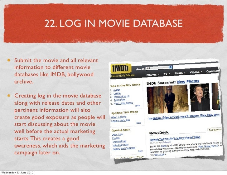 22. LOG IN MOVIE DATABASE           Submit the movie and all relevant         information to different movie         datab...