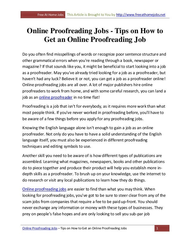 how to get a proofreading job