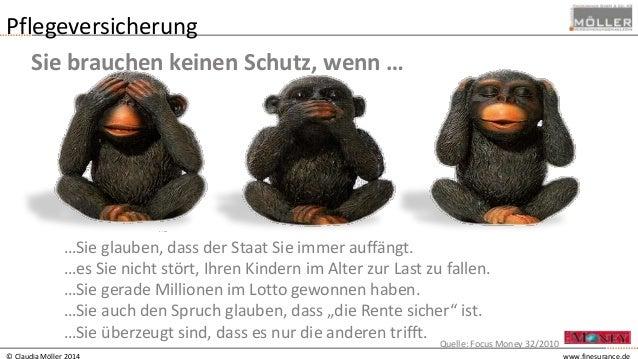 © Claudia Möller 2014 www.finesurance.de Pflegeversicherung Sie brauchen keinen Schutz, wenn … …Sie glauben, dass der Staa...