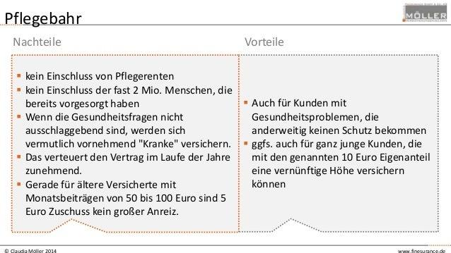 © Claudia Möller 2014 www.finesurance.de Pflegebahr  Auch für Kunden mit Gesundheitsproblemen, die anderweitig keinen Sch...