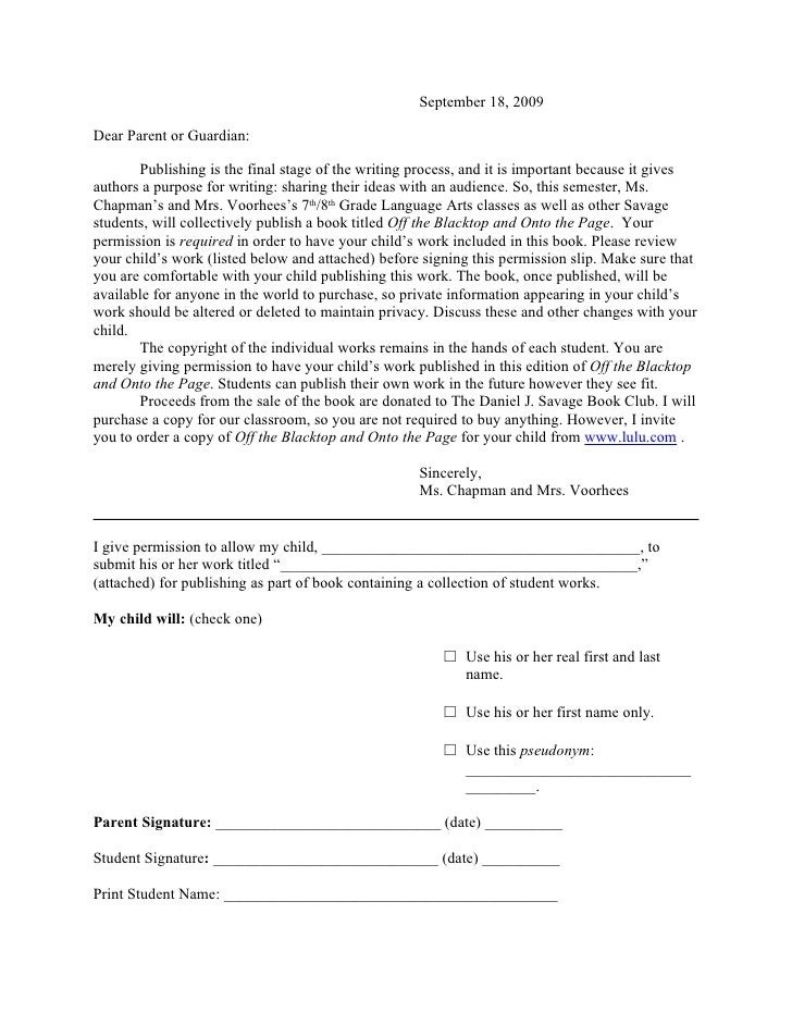 Parent Consent Form Template Copyright Permission Form
