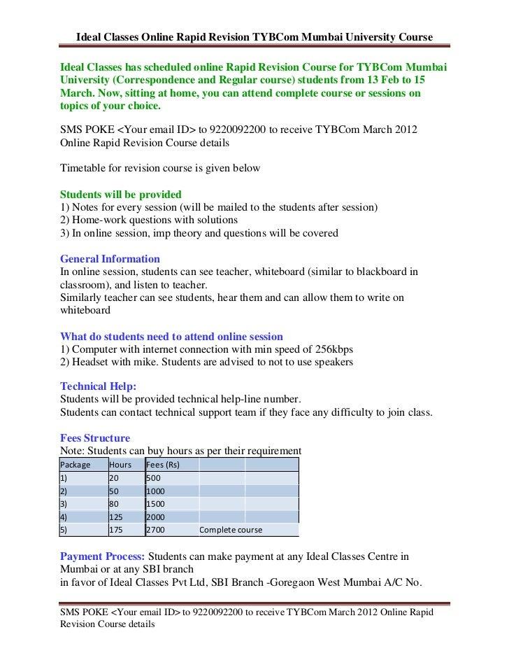 Ideal Classes Online Rapid Revision TYBCom Mumbai University CourseIdeal Classes has scheduled online Rapid Revision Cours...