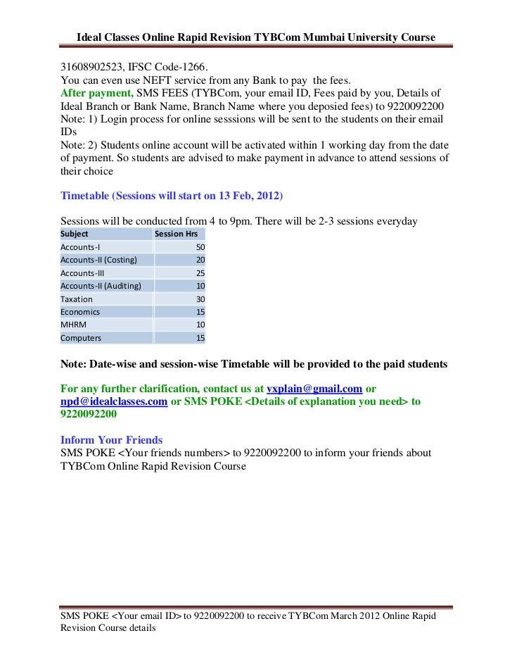 Tybcom March 2012 Online Rapid Revision Course Mumbai University