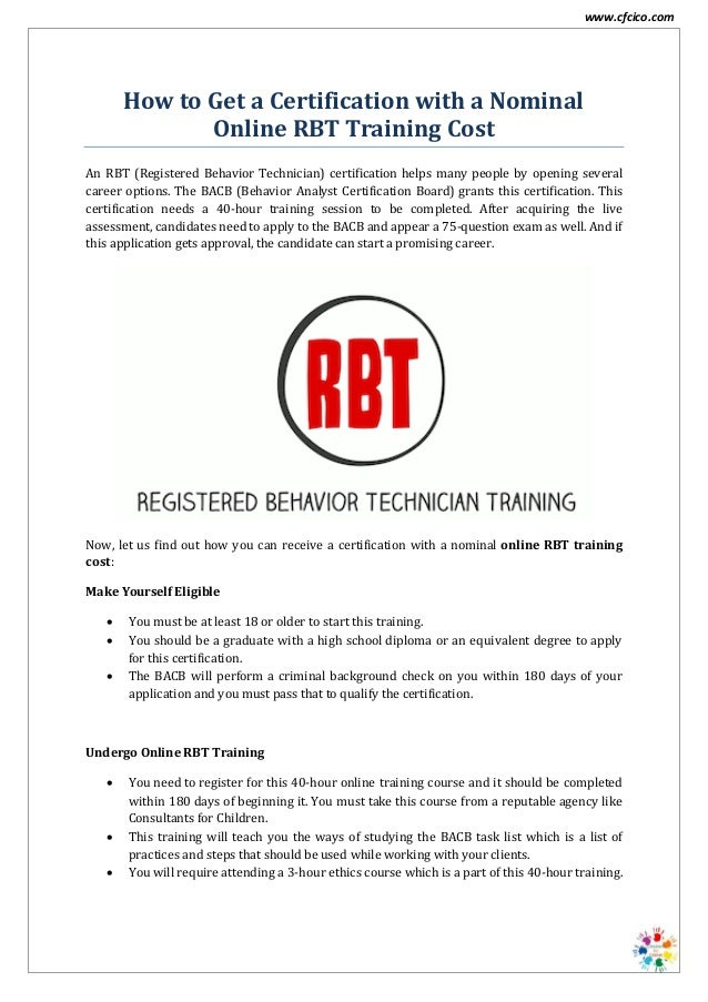 Online RBT Training Cost - CFCICO