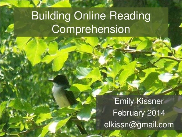 Building Online Reading Comprehension  Emily Kissner February 2014 elkissn@gmail.com