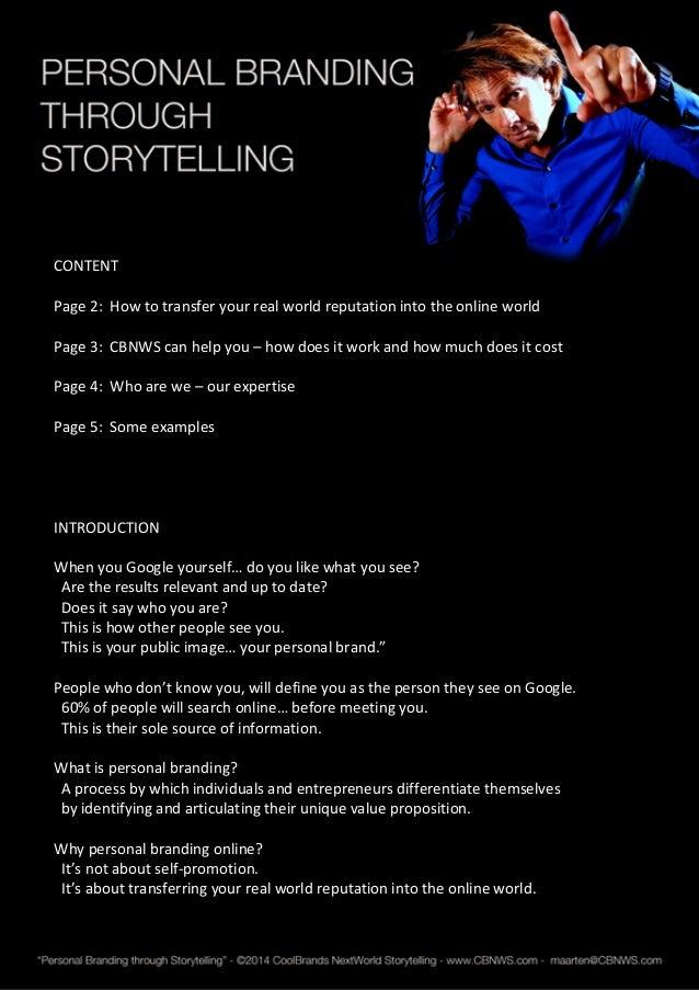 Online Reputation through Storytelling Slide 2