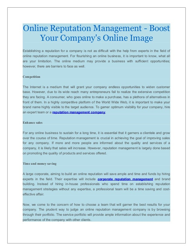 Online Reputation Management - Boost Your Company's Online Image Establishing a reputation for a company is not as difficu...