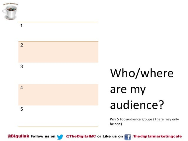 1  2  3  4  5  Who/where are my audience? Pick 5 top audience groups (There may only be one)  @Bigullak Follow us on  @The...