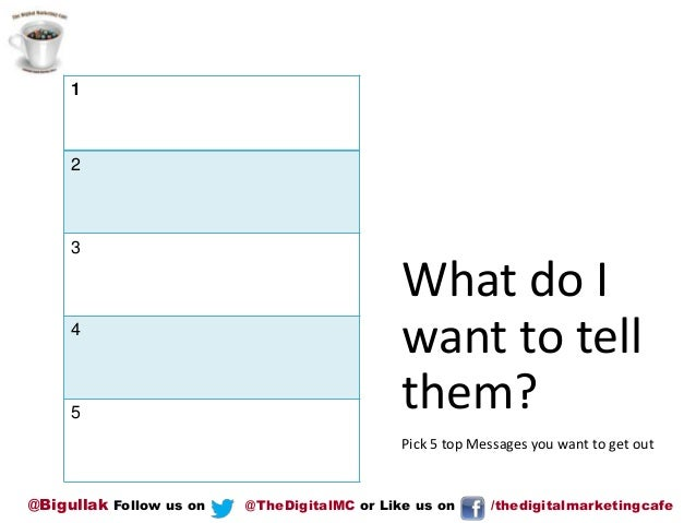 1  2  3  4  5  What do I want to tell them? Pick 5 top Messages you want to get out  @Bigullak Follow us on  @TheDigitalMC...