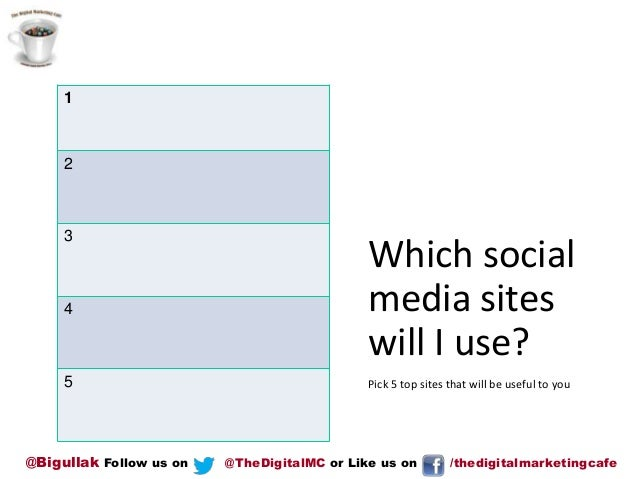 1  2  3  4  5  @Bigullak Follow us on  Which social media sites will I use? Pick 5 top sites that will be useful to you  @...