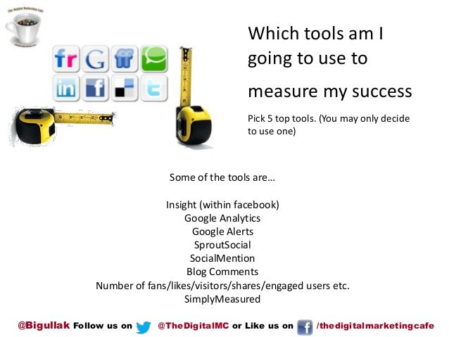 Which tools am I going to use to measure my success Pick 5 top tools. (You may only decide to use one)  Some of the tools ...