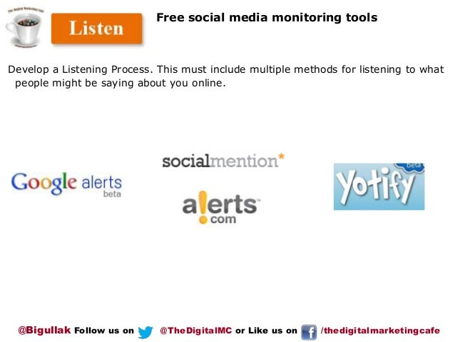 Free social media monitoring tools  Develop a Listening Process. This must include multiple methods for listening to what ...