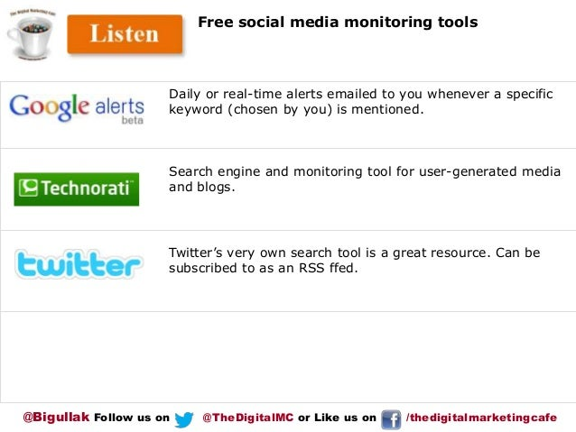 Free social media monitoring tools  Daily or real-time alerts emailed to you whenever a specific keyword (chosen by you) i...