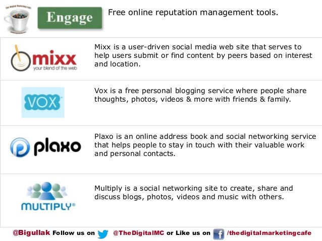 Free online reputation management tools.  Mixx is a user-driven social media web site that serves to help users submit or ...