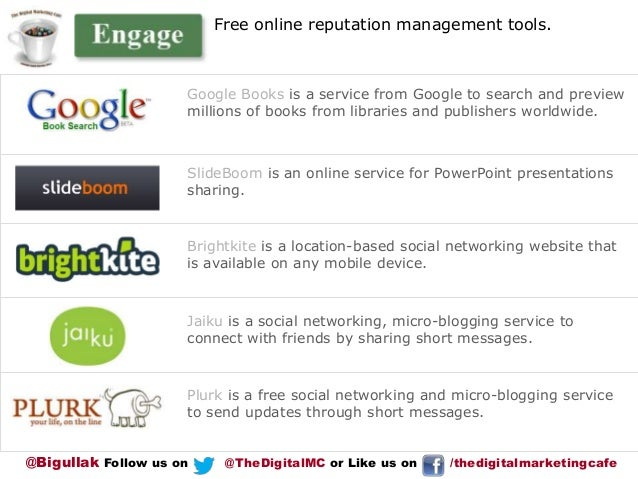 Free online reputation management tools.  Google Books is a service from Google to search and preview millions of books fr...