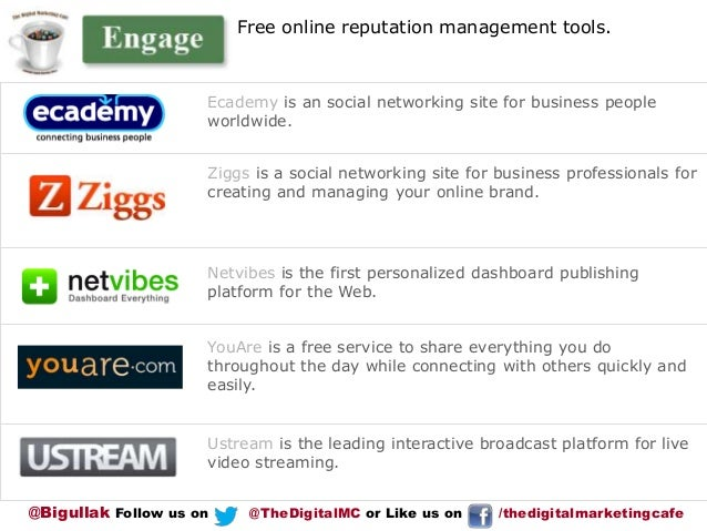 Free online reputation management tools.  Ecademy is an social networking site for business people worldwide.  Ziggs is a ...