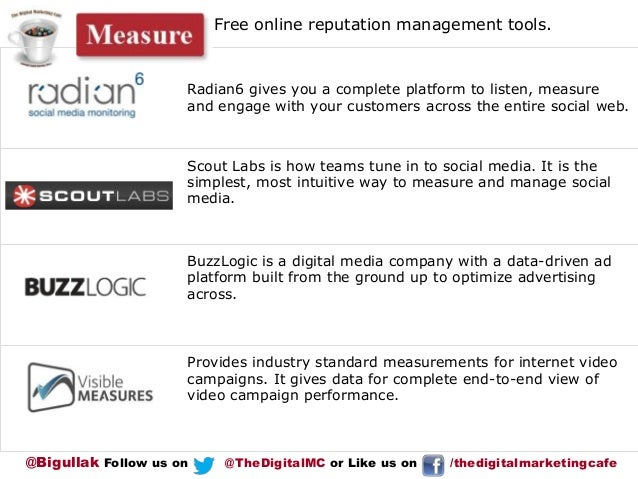 Free online reputation management tools.  Radian6 gives you a complete platform to listen, measure and engage with your cu...