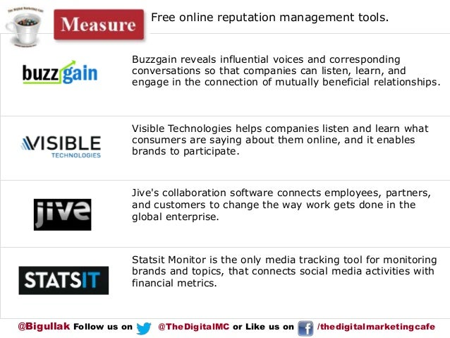 Free online reputation management tools.  Buzzgain reveals influential voices and corresponding conversations so that comp...