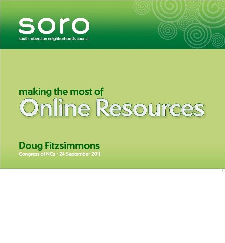making the most ofOnline ResourcesDoug FitzsimmonsCongress of NCs • 24 September 201                                 1    ...