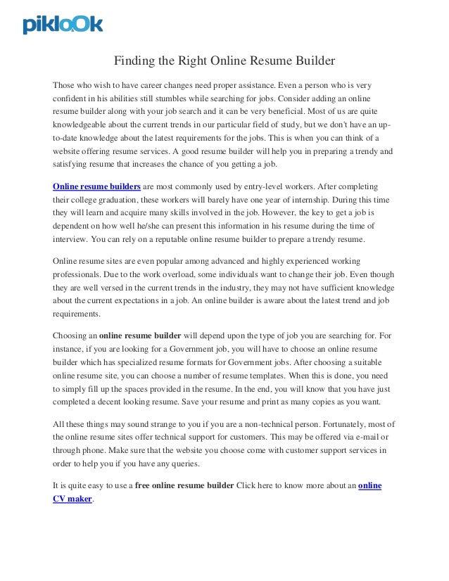 online resume builders