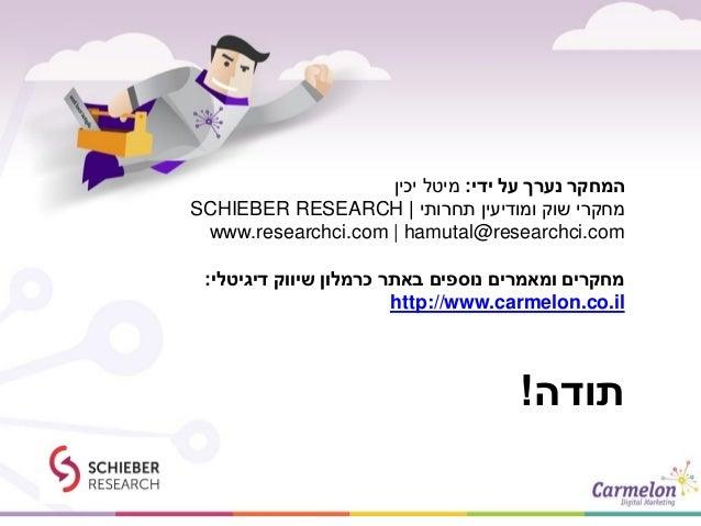 תודה! ידי על נערך המחקר:יכין מיטל תחרותי ומודיעין שוק מחקרי SCHIEBER RESEARCH www.researchci.com   h...