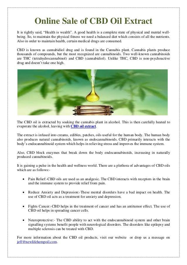 Online Sale of CBD Oil Extract