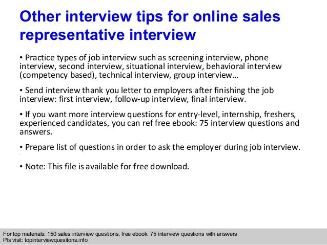 Online Sales Representative Interview Questions And Answers