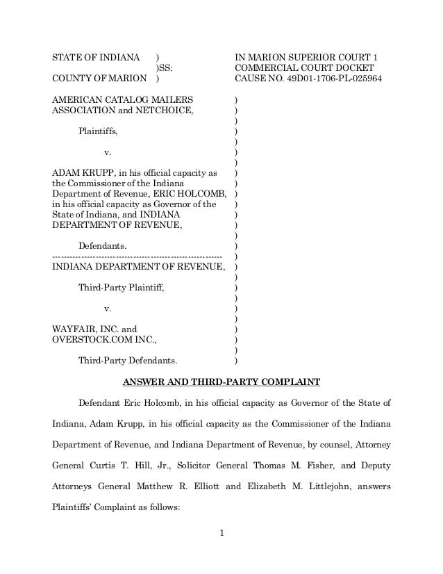 1 STATE OF INDIANA ) IN MARION SUPERIOR COURT 1 )SS: COMMERCIAL COURT DOCKET COUNTY OF MARION ) CAUSE NO. 49D01-1706-PL-02...