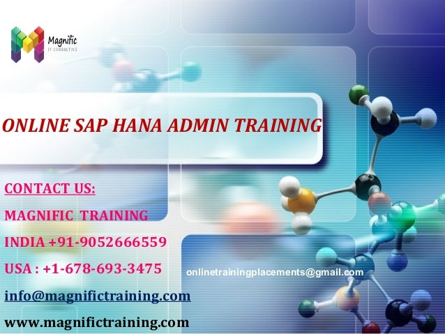 LOGO  ONLINE SAP HANA ADMIN TRAINING CONTACT US: MAGNIFIC TRAINING INDIA +91-9052666559 USA : +1-678-693-3475  onlinetrain...