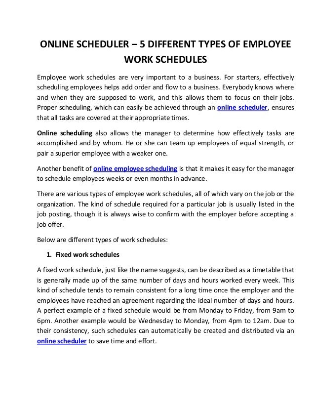 Online Scheduler   Different Types Of Employee Work Schedules