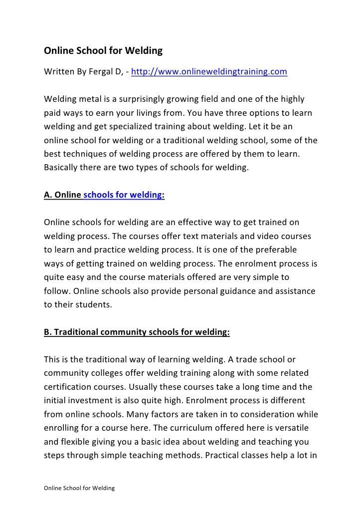 Online School For Welding