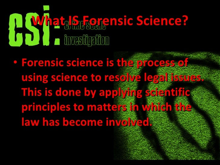 online scientific method forensics 2009
