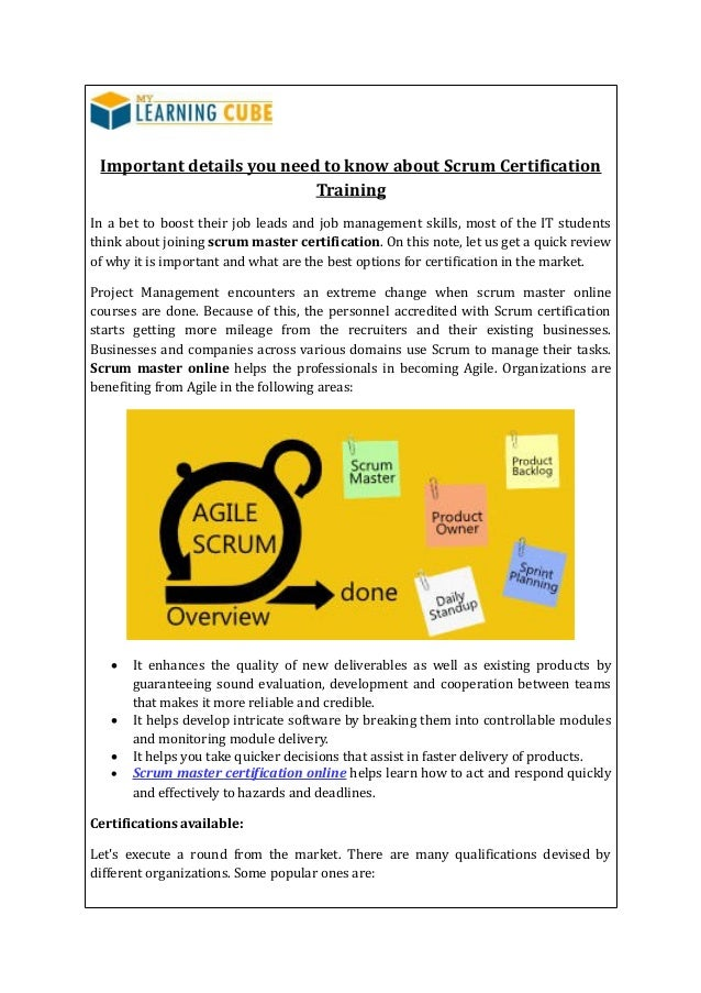 Online Scrum Master Certification Mylearningcube