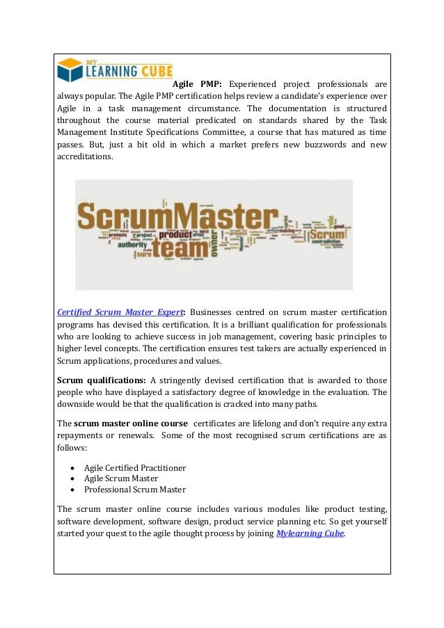Online Scrum Master Certification Mylearningcube