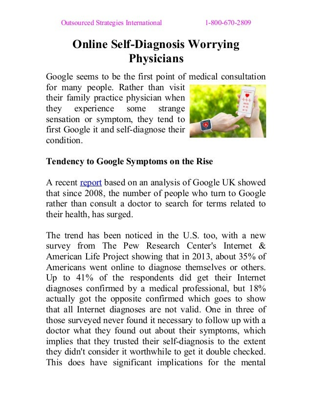 Outsourced Strategies International 1-800-670-2809 Online Self-Diagnosis Worrying Physicians Google seems to be the first ...