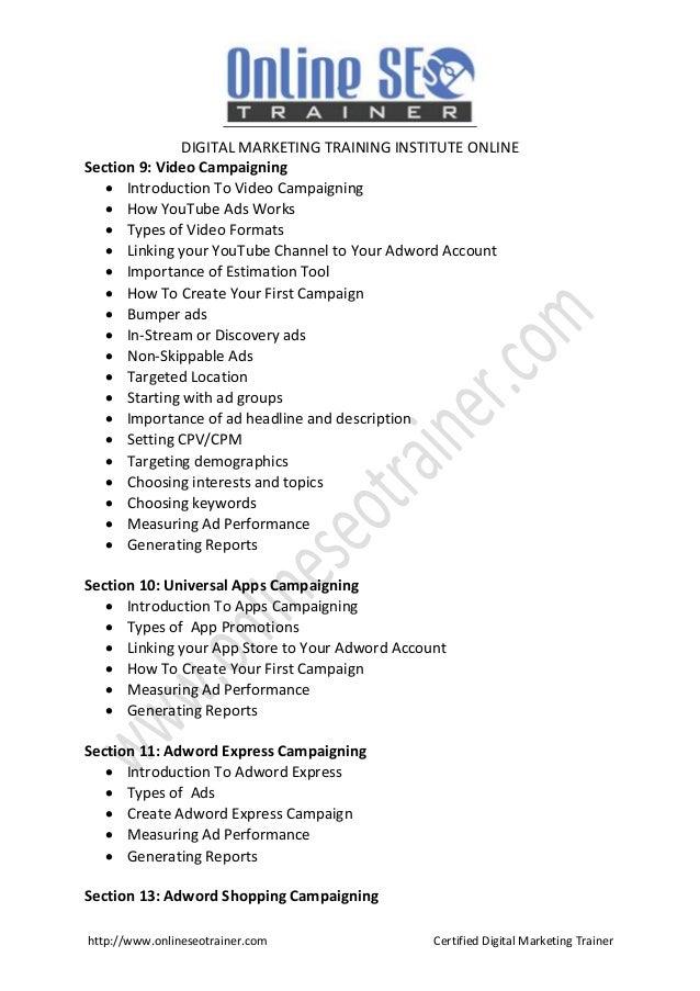 Digital Marketing Course Brochure 2018 Hyderabad | Digital