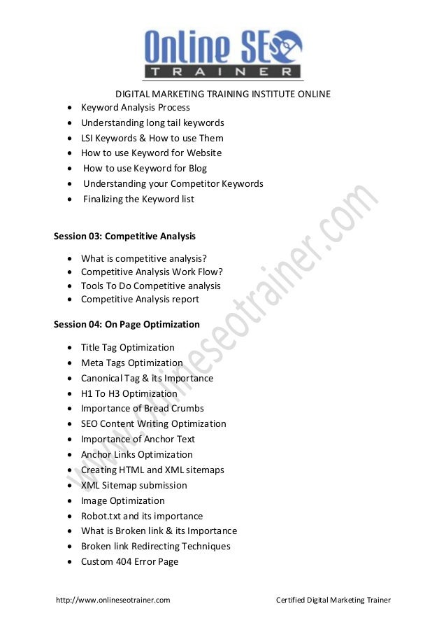 digital marketing course brochure 2018 hyderabad digital marketing