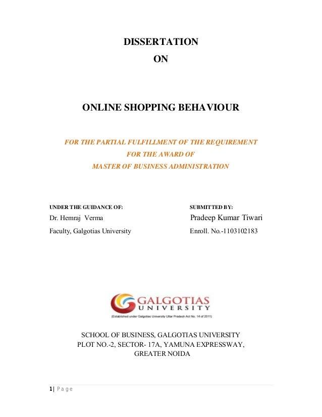 Online shopping dissertation
